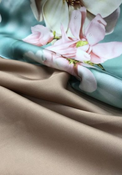 Mint Floral Armani Satin paired with Rose Gold Armani Satin
